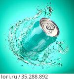 Cyan aquamarine aluminium can with transparent splash on cyan background. Gin or water. Стоковое фото, фотограф Maksym Yemelyanov / Фотобанк Лори