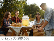 Friends sitting at the table on picnic at camping. Стоковое фото, фотограф Tryapitsyn Sergiy / Фотобанк Лори