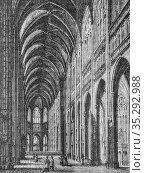 Interieur de l'eglise saint-ouen a rouen1434-1493, histoire populaire... Редакционное фото, фотограф Louis Bertrand / age Fotostock / Фотобанк Лори