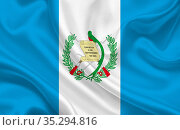 Guatemala country flag on wavy silk fabric background panorama - illustration... Стоковое фото, фотограф Zoonar.com/Evgeny Babaylov / easy Fotostock / Фотобанк Лори