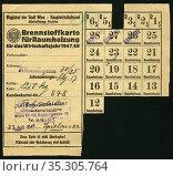 Europa, Österreich, Wien, Zeit nach dem 2. Weltkrieg, Brennstoffkarte... Редакционное фото, фотограф Historisches Auge Ralf Feltz / age Fotostock / Фотобанк Лори