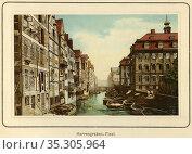 Europe, Deutschland, Hamburg, Herrengraben Fleet mit Lagerhäusern... Редакционное фото, фотограф Historisches Auge Ralf Feltz / age Fotostock / Фотобанк Лори