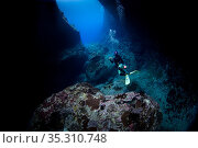 """A diver in the opening of the """"Cathedral"""", a cavern, Green Island, Taiwan. Стоковое фото, фотограф Magnus Lundgren / Wild Wonders of China / Nature Picture Library / Фотобанк Лори"""