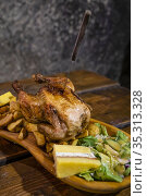 Chicken meal in medieval tavern, Hungary. Стоковое фото, фотограф Richard Semik / easy Fotostock / Фотобанк Лори