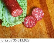 Csabai Hungarian sausage - may contain meats, top quality spices,... Стоковое фото, фотограф Zoonar.com/MYCHKO / easy Fotostock / Фотобанк Лори