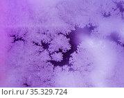 Узоры мороза на стекле. Фиолетовый фон. Стоковое фото, фотограф E. O. / Фотобанк Лори