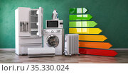 Energy efficiency of home kitchen appliances concept. Стоковое фото, фотограф Maksym Yemelyanov / Фотобанк Лори