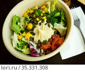 Salad with hummus, salmon. Стоковое фото, фотограф Яков Филимонов / Фотобанк Лори