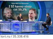 Journalist Bruno Vespa with Matteo Salvini leader of Lega party at... Редакционное фото, фотограф Maria Laura Antonelli / AGF/Maria Laura Antonelli / age Fotostock / Фотобанк Лори
