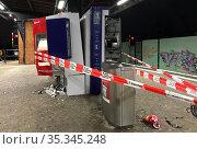 Berlin, Germany, blown up ticket vending machine at S-Bahn station Attilastrasse. Редакционное фото, агентство Caro Photoagency / Фотобанк Лори