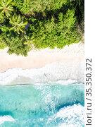 Seychelles Takamaka beach Mahe portrait format vacation paradise ocean... Стоковое фото, фотограф Markus Mainka / easy Fotostock / Фотобанк Лори