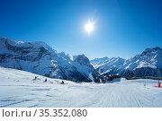 Mountain peaks and clean empty ski trails in Alps. Стоковое фото, фотограф Сергей Новиков / Фотобанк Лори