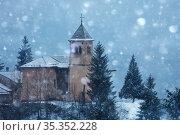 Old church of Champagny-en-Vanoise village, France (2020 год). Стоковое фото, фотограф Сергей Новиков / Фотобанк Лори