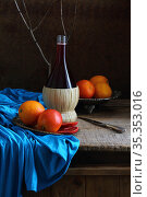 Still life with red wine and citrus. Стоковое фото, фотограф Марина Володько / Фотобанк Лори