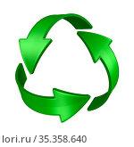 sign recycled on white background. Isolated 3D illustration. Стоковая иллюстрация, иллюстратор Ильин Сергей / Фотобанк Лори