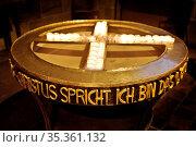 Christus spricht Ich bin das Licht, St. Petri Dom, Freie Hansestadt... Стоковое фото, фотограф Zoonar.com/Stefan Ziese / age Fotostock / Фотобанк Лори