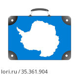 Antarctica country flag in the form of a travel suitcase on a white... Стоковое фото, фотограф Zoonar.com/Evgeny Babaylov / easy Fotostock / Фотобанк Лори