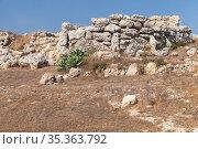 Ggantija megalithic temple complex. Gozo island, Malta (2019 год). Стоковое фото, фотограф EugeneSergeev / Фотобанк Лори