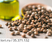 Close up view of hemp seeds and hemp oil on brown wooden table. Hemp... Стоковое фото, фотограф Zoonar.com/Olga Sergeeva / easy Fotostock / Фотобанк Лори