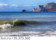 Summer travel across Crimea. Beautiful landscape on the seashore near the town of Sudak. Стоковое фото, фотограф Яна Королёва / Фотобанк Лори