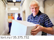 Älterer Arbeiter als Minijobber trägt Karton durch Gang zum Lager... Стоковое фото, фотограф Zoonar.com/Robert Kneschke / age Fotostock / Фотобанк Лори