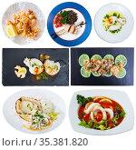 Collection of meals with calamari and cuttles. Стоковое фото, фотограф Яков Филимонов / Фотобанк Лори