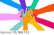 Viele gestapelte bunte Hände von oben als Netzwerk und Zusammenhalt... Стоковое фото, фотограф Zoonar.com/Robert Kneschke / age Fotostock / Фотобанк Лори