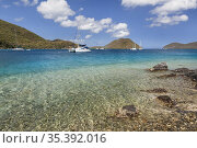 View of Leinster Bay with boats in harbor on the island of St. John... Стоковое фото, фотограф Larry Malvin / age Fotostock / Фотобанк Лори