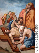 Jesus Christ nailed to the cross and Pontius Pilate. Casimir Vicario... Стоковое фото, фотограф Catherine Leblanc / easy Fotostock / Фотобанк Лори