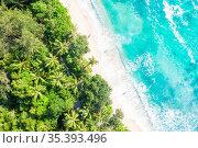Seychelles Takamaka beach Mahe island vacation drone view aerial photo... Стоковое фото, фотограф Zoonar.com/Markus Mainka / easy Fotostock / Фотобанк Лори