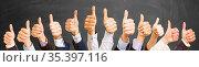 Viele Hände mit Daumen hoch als Erfolg konzept. Стоковое фото, фотограф Zoonar.com/Robert Kneschke / age Fotostock / Фотобанк Лори