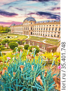 Wurzburg Residenz and colorful gardens view, famous landmark in Bavaria... Стоковое фото, фотограф Zoonar.com/Dalibor Brlek / easy Fotostock / Фотобанк Лори