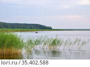 Вечерняя рыбалка на озере Селигер. Тверская область, Россия. Стоковое фото, фотограф Елена Коромыслова / Фотобанк Лори