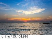 Sunset over Gulf of Thailand (2017 год). Стоковое фото, фотограф Юлия Белоусова / Фотобанк Лори