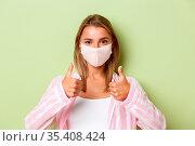 Concept of quarantine, coronavirus and lifestyle. Close-up of confident... Стоковое фото, фотограф Zoonar.com/Seva Levitsky / easy Fotostock / Фотобанк Лори