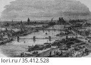 Port of bercy, paris painting by edmond texier, editor paulin et ... (2009 год). Редакционное фото, фотограф Louis Bertrand / age Fotostock / Фотобанк Лори