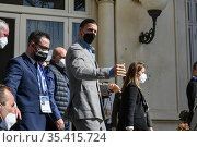 The football player Zlatan Ibrahimovic leaves the Casino' Palace ... Редакционное фото, фотограф Maria Laura Antonelli / AGF/Maria Laura Antonelli / age Fotostock / Фотобанк Лори