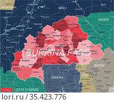 Burkina Faso country detailed editable map. Стоковая иллюстрация, иллюстратор Jan Jack Russo Media / Фотобанк Лори