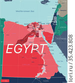 Egypt country detailed editable map. Стоковая иллюстрация, иллюстратор Jan Jack Russo Media / Фотобанк Лори