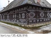 Painted folk house, UNESCO village Cicmany in Slovakia. Стоковое фото, фотограф Richard Semik / easy Fotostock / Фотобанк Лори