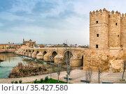 The Calahorra Tower (Spanish: Torre de la Calahorra) and Roman bridge... Стоковое фото, фотограф Zoonar.com/Boris Breytman / easy Fotostock / Фотобанк Лори