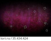 Composition of filled and outline squares and triangles on dark purple painterly background. Стоковое фото, агентство Wavebreak Media / Фотобанк Лори