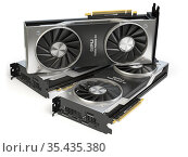 Graphics cards. Modern gaming GPU graphics processing units isolated on white. Стоковое фото, фотограф Maksym Yemelyanov / Фотобанк Лори