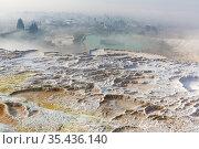 White terraced baths of Pamukkale thermal springs, Turkey. Стоковое фото, фотограф Яков Филимонов / Фотобанк Лори