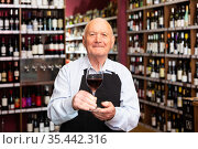 Successful elderly male owner of winery inviting to tasting wine of own production. Стоковое фото, фотограф Яков Филимонов / Фотобанк Лори
