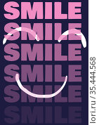 Smile text in repetition in pink letters over smiley face. Стоковое фото, агентство Wavebreak Media / Фотобанк Лори