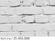 Old white brick wall, close-up background photo. Стоковое фото, фотограф EugeneSergeev / Фотобанк Лори