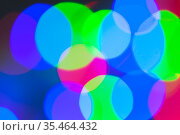 RGB blurred lights, bokeh effect. Abstract blurred background. Стоковое фото, фотограф EugeneSergeev / Фотобанк Лори