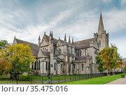 Saint Patrick's Cathedral in Dublin, Ireland, founded in 1191, is... Стоковое фото, фотограф Zoonar.com/Boris Breytman / easy Fotostock / Фотобанк Лори