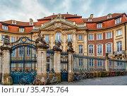 Erbdrostenhof is a three-wing late Baroque palace in Munster, North... Стоковое фото, фотограф Zoonar.com/Boris Breytman / easy Fotostock / Фотобанк Лори